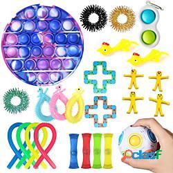 25 pezzi giocattoli fidget set anti stress stringhe elastiche push pop bubble confezione regalo adulti bambini squishy sensoriale antistress sollievo giocattoli figet miniinthebox