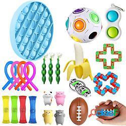 24 pz giocattoli fidget anti stress set stringhe elastiche pop it popit confezione regalo adulti bambini squishy sensoriale antistress sollievo giocattoli figet miniinthebox