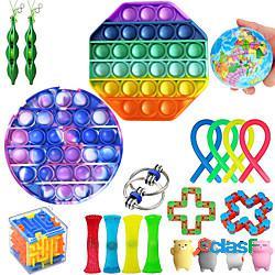 21 pezzi fidget toys set anti stress stringhe elastiche confezione regalo adulti bambini squishy sensoriale antistress sollievo figet toys miniinthebox