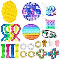 24 pz giocattoli fidget anti stress set stringhe elastiche push pop confezione regalo adulti bambini squishy sensoriale antistress sollievo giocattoli figet miniinthebox