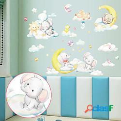 Cartone animato luna elefante orso camera dei bambini camera da letto portico decorazione della parete della scuola materna può essere rimosso adesivi murali miniinthebox