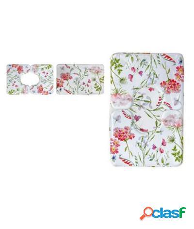 Set 3 pezzi tappeti bagno sagomati antiscivolo fiori bianco rosso