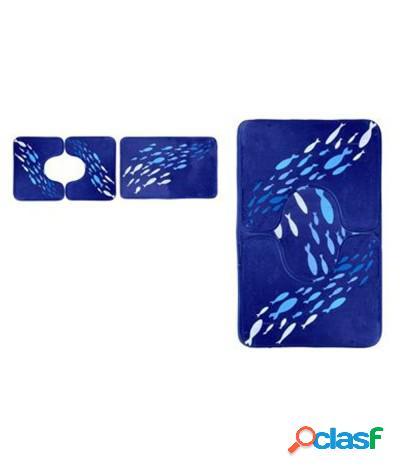 Set 3 pezzi tappeti bagno sagomati antiscivolo pesci bianco blu