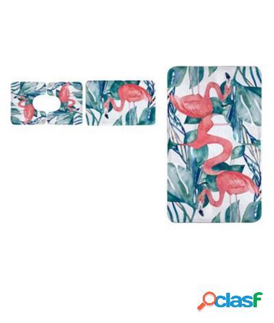 Set 3 pezzi tappeti bagno sagomati antiscivolo fenicottero bianco verde