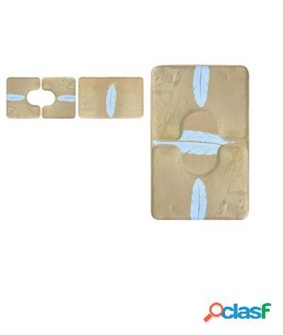 Set 3 pezzi tappeti bagno sagomati antiscivolo piuma bianco oro