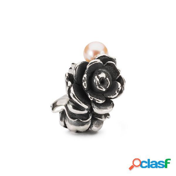 Beads festa della mamma trollbeads in argento con perla | rosa d'amore - tagbe-00274