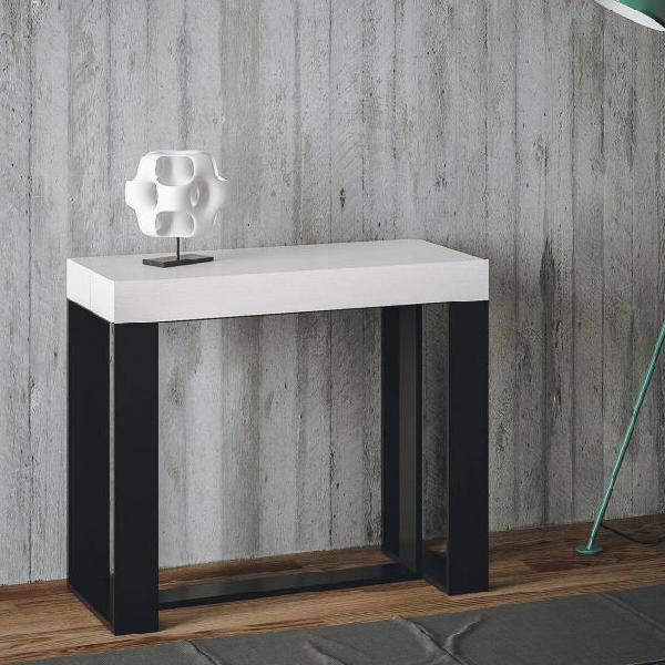 Consolle allungabile in legno e ferro h77x40x90/300cm