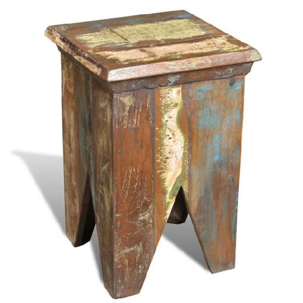 Vidaxl sgabello in legno massello di recupero