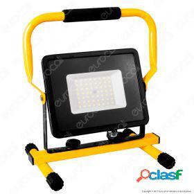 50W LED SMD Slim Floodlight with Stand And EU Plug Black Body 4000K