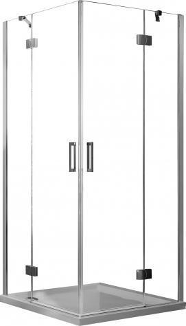 Box doccia angolare 70x75 cm 2 ante battenti in cristallo