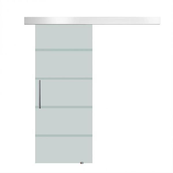 Porta scorrevole vetrata 77,5x205 cm satinata a strisce