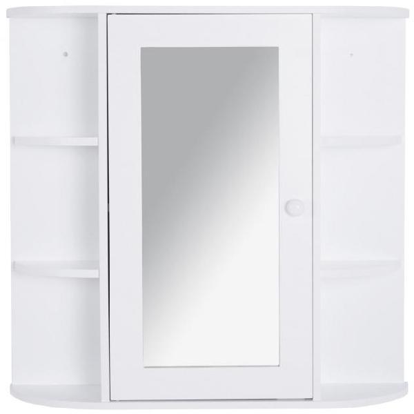 Specchiera da bagno 1 anta coon mensole 66x17x63 cm in legno