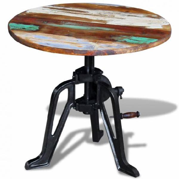 Vidaxl tavolino in legno massello anticato e ghisa