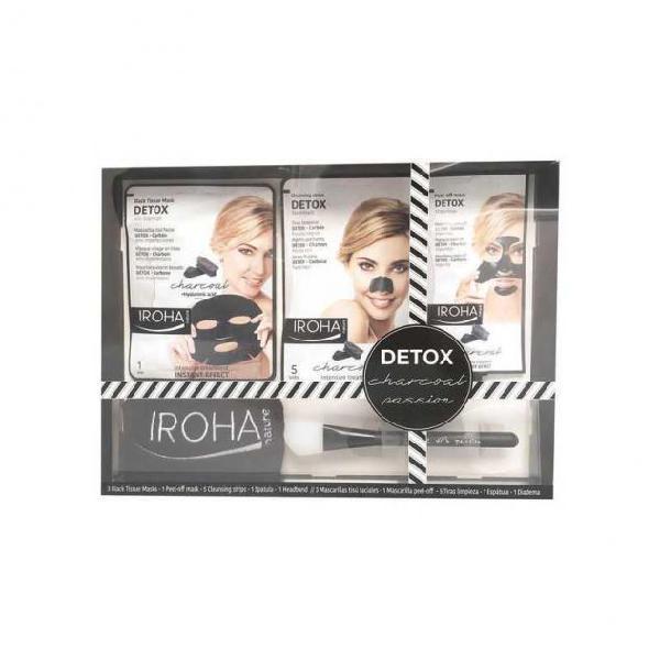 Cofanetto cosmetica donna detox charcoal black passion iroha