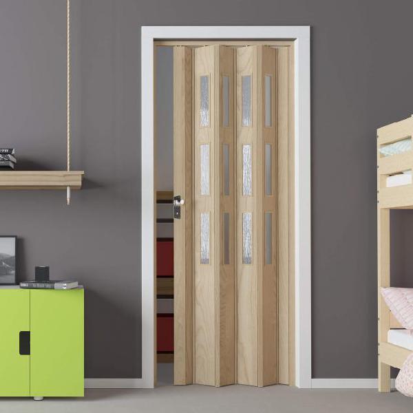 Porta a soffietto da interno 88,5x214 cm in pvc con vetro