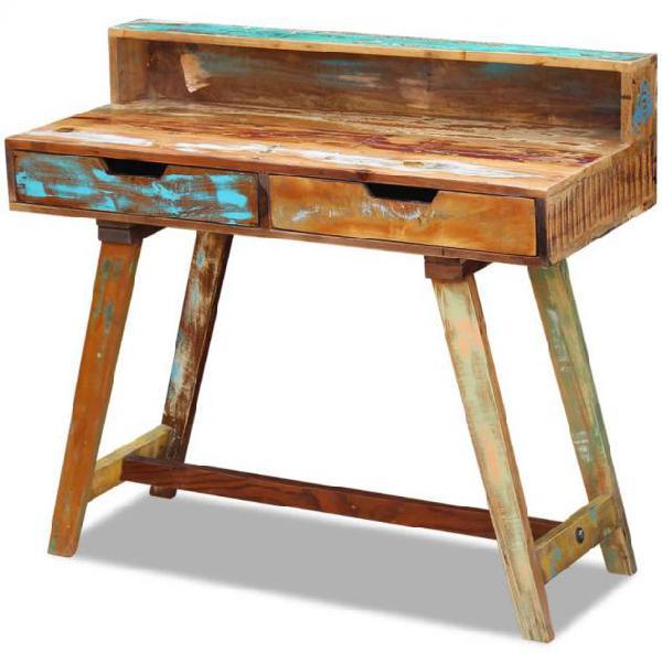Vidaxl scrivania in legno massello anticato