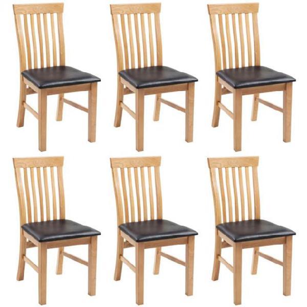 Vidaxl sedie da pranzo 6 pz in massello di rovere e