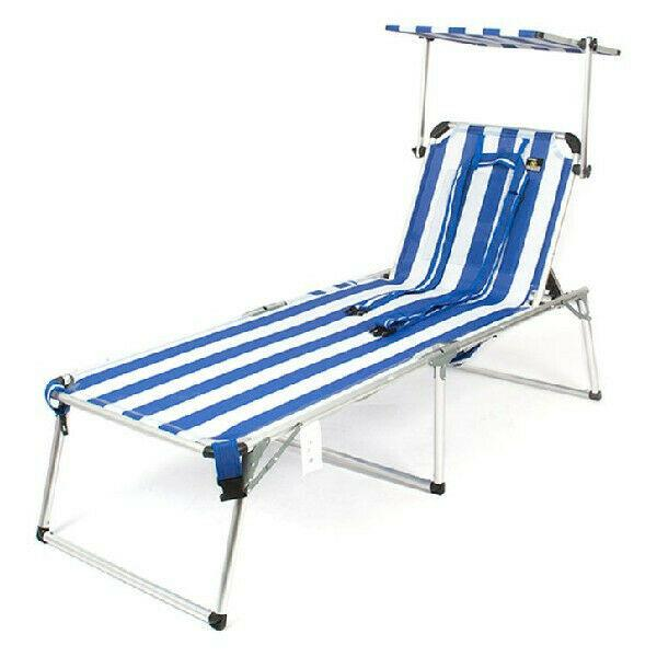 Lettino da spiaggia albastru / alb alluminio (150 x 52 x 62