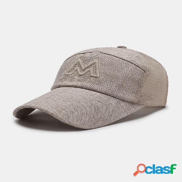 Cappello da baseball da uomo in cotone con ricamo lettera m sport parasole