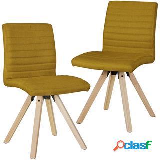 Lotto da 2 sedie ospiti malik, struttura in legno, seduta in tessuto ocra