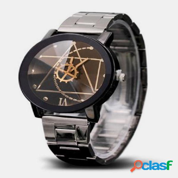 Orologi alla moda con ruota dentata in acciaio inossidabile orologi da polso da uomo con quadrante irregolare creativo m