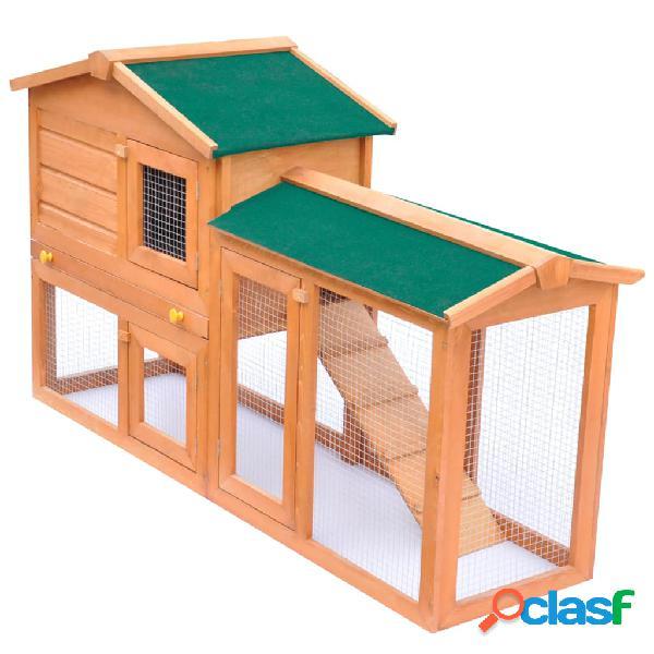 Vidaxl conigliera all'aperto gabbia animali piccoli casetta in legno