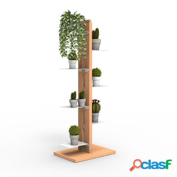 Porta piante a colonna zia flora 42x30xh 110 cm -dist. in altezza min 33-max 44 cm struttura legno massello di faggio evaporato colore naturale mensole in acciaio smaltato