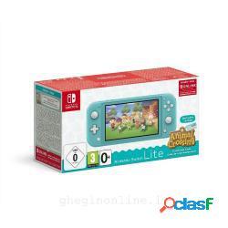 Nintendo console switch lite turchese + animal crossing: new horizon pack + nso 3 mesi (limited) - Nintendo