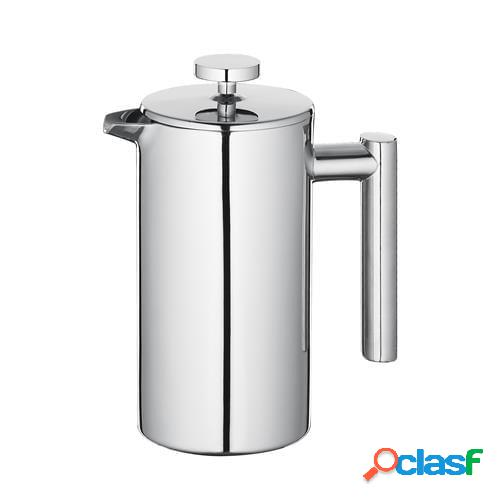 Caffettiera pressofiltro sara lucida per 8 tazze caffettiera termoisolante a doppia parete