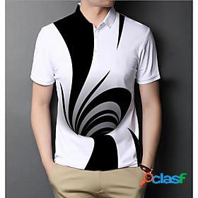 Men's polo graphic optical illusion short sleeve daily slim tops basic elegant white