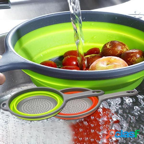 Cestini per frutta con scarico rotondo a manico lungo pieghevole silicone cesto per frutta e verdura scolapasta