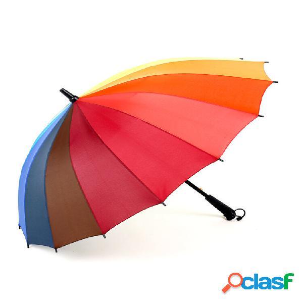 Ombrello da golf con manico lungo dritto anti-uv sole / pioggia bastone a costine color arcobaleno 16k