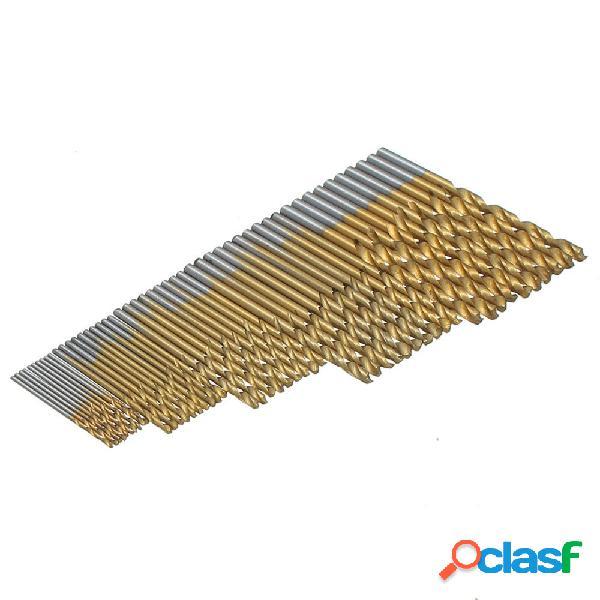 Drillpro 50pcs 1 / 1.5 / 2 / 2.5 / 3mm hss punte elicoidali rivestite in titanio set punte da trapano in acciaio ad alta