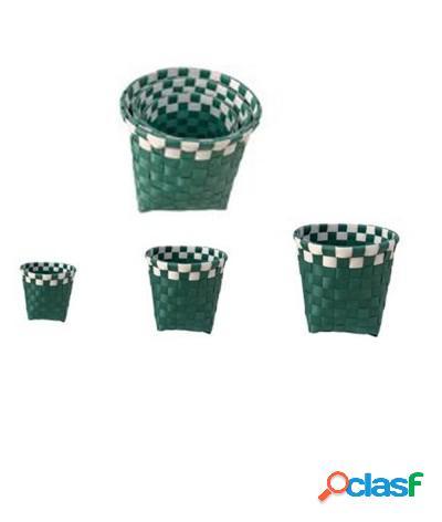 Set 3 pz cestini porta oggetti organizer bagno rotondi riga check verde bianco