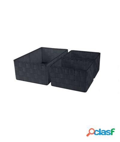 Set 3 pz cestini porta oggetti organizer rettangolari bagno riga check nero