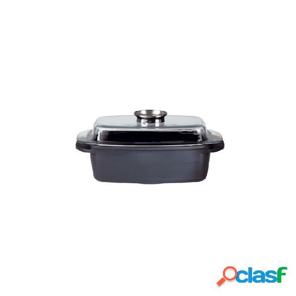 Rostiera rettangolare aroma gourmet con coperchio in ferro e alluminio lt 5,5 - nero