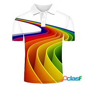 Men's polo graphic optical illusion print short sleeve daily tops streetwear exaggerated rainbow