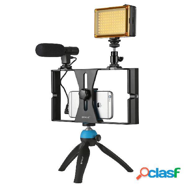 [eu] kit microfono luce led treppiede video rig per smartphone