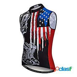 21grams americano / stati uniti d'america usa bandiera per uomo senza maniche maglia da ciclismo gilet da ciclismo - nero / rosso bicicletta maglietta / maglia superiore asciugatura rapida /