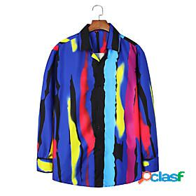 Men's shirt other prints optical illusion long sleeve party tops beach tropical blue