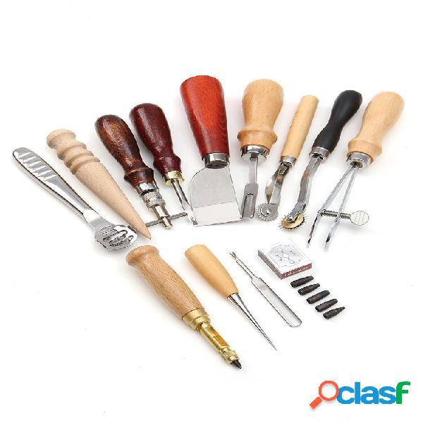 13 pezzi / set artigianato in pelle fai da te strumenti set utensile da lavoro in pelle punzonatrice kit fai da te