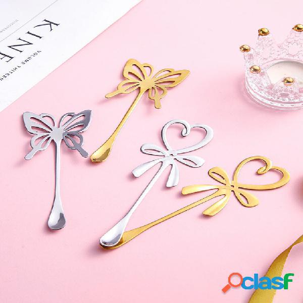 1 pz farfalla cuore posate in acciaio inox cucchiaio da miscelazione con manico lungo tè gelato al caffè cucchiaio da de