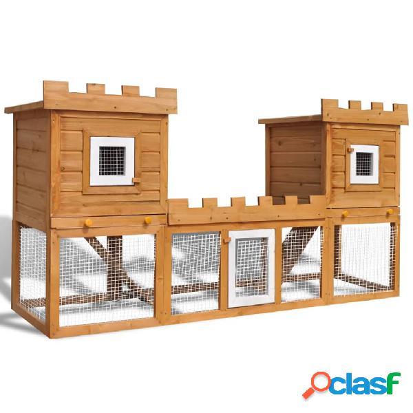 Vidaxl conigliera all'aperto grande gabbia animali piccoli 2 casette