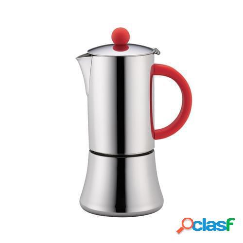 Caffettiera espresso tiziano lucida per 6 tazze per induzione, rosso