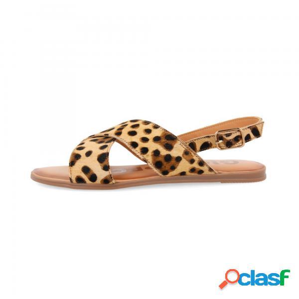 Sandali a cinturino incrociati con stampa leopardo per donne islip gioseppo - sandali con fibbia - taglia: 37