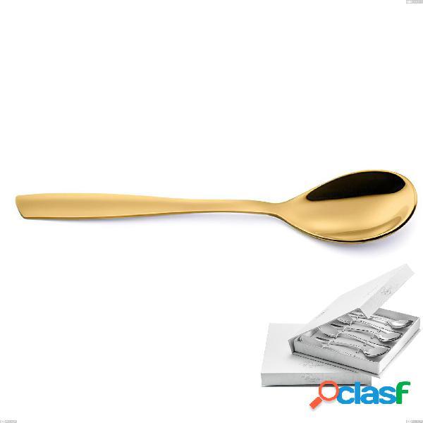 Confezione a libro 6 pezzi cucchiaini caffè eleven pvd gold, acciaio 18/10 lucido, spessore 2.5 mm, pvd oro