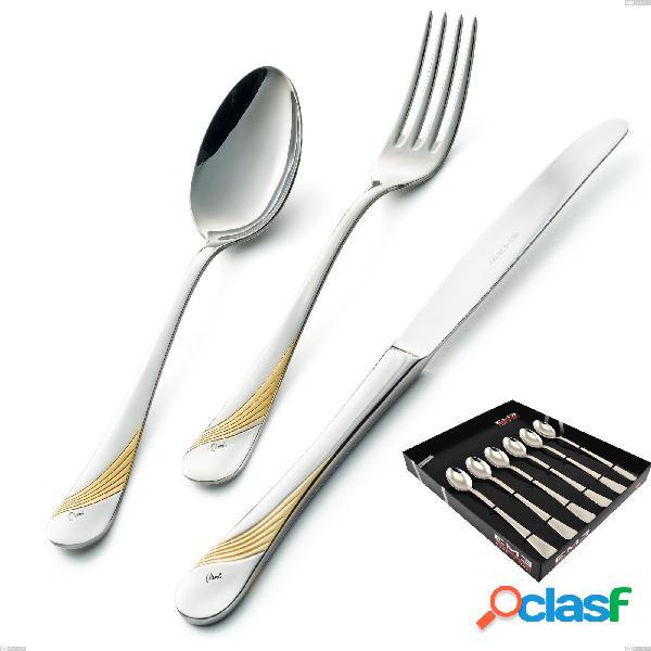 Confezione vetrina 6 pezzi cucchiaini bibita milano inciso oro, 18/10 (aisi304) finitura inox lucido e oro, spessore 2,5 mm