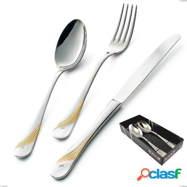 Confezione vetrina 2 pezzi insalata milano inciso oro, 18/10 (aisi304) finitura inox lucido e oro, spessore 2,5 mm