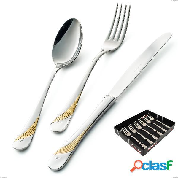 Confezione vetrina 6 pezzi forchettine dolce milano inciso oro, 18/10 (aisi304) finitura inox lucido e oro, spessore 2,5 mm