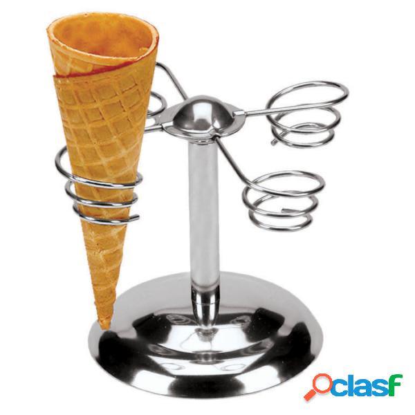 Porta coni gelato, 4 posti 16,50xh 14,00 cm peso 0,32 kg in acciaio inox